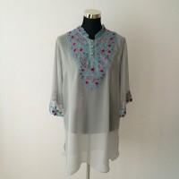 KLasia Embroidered Honeydew Chiffon Top